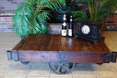 Industrial Factory Cart/Railroad - Coffee Table Cart-Stenciled Nutting