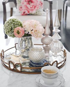Coffee table mirror tray styling | floral Mercury glass agate coaster Jonathan Adler zebra dish | Classy Glam Living