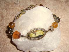 Vintage Dreams Bracelet Amber Glass and Ornate Brass by BeanzBeads, $28.00