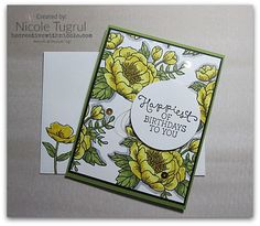 Nicole made her own patterned paper by stamping the large flower from Birthday Blooms several times and coloring. All supplies from Stampin' Up!