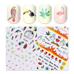 Flower 3D Nail Stickers Parrot Unicorn Cactus Heart Smile Manicure Nails Decals