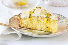 Passion fruit and coconut cake. Make sure your guests save space for this crumbly and moist cake, smothered in a smooth and tangy passionfruit icing. Coconut Recipes, Baking Recipes, Cake Recipes, Dessert Recipes, Desserts, Baking Ideas, Karen Martini Recipes, Yummy Treats, Sweet Treats