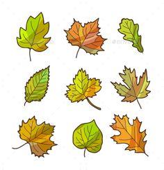 Autumn or Fall Leaves Set