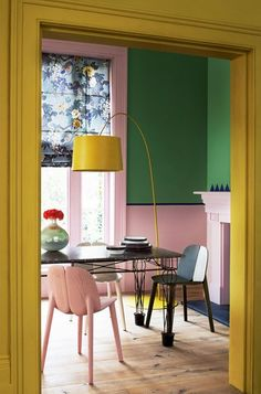 Yellow Green Pink Dining Room / House & Garden / Photo by Mel Yates - colorful interiors Home Interior, Interior And Exterior, Interior Decorating, Color Interior, Decorating Tips, Decorating Websites, Colorful Interior Design, Yellow Interior, Interior Walls