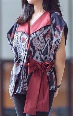 Blouse Trendy Wanita Gaya Tenun Blanket Asli - Istana Tenun Jepara