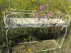 Shabby Chic Wrought Iron Plant Stand by KarensChicNShabby on Etsy