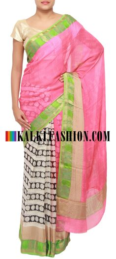 Get this beautiful saree here: http://www.kalkifashion.com/half-and-half-saree-in-pink-and-white-highlighted-in-paisley-motif-banarasi-border-only-on-kalki.html Free shipping worldwide.