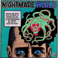 Panel from Nightmare World, by Basil Wolverton Horror Comics, Horror Art, Basil Wolverton, Planet Love, Retro Robot, Bristol Board, Popular Art, Vintage Horror, Comic Page