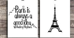 Paris wall decor SET Instant download Audrey Hepburn Quote Digital art DIY Printable Eiffel tower poster Typography print Paris good idea