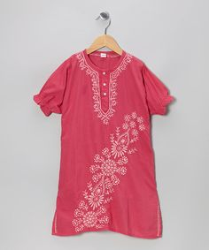 Love this Alejandra Kearl Designs Fuchsia & White Hand-Embroidered Dress - Infant, Toddler & Girls by Alejandra Kearl Designs on #zulily! #zulilyfinds
