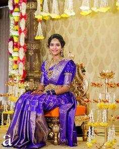 Trend Alert: Puff Sleeve Blouses For Your Kanjeevaram Saree Is A Thumbs Up Pattu Sarees Wedding, Wedding Saree Blouse Designs, Half Saree Designs, Fancy Blouse Designs, Silk Sarees, Bridal Sarees South Indian, Indian Bridal Outfits, Indian Sarees, Traditional Blouse Designs