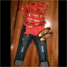 NWOT Coral and gold sequin top Such a cute and fun top! Coral lace with gold sequin accents. Built-in under coral camisole. Tops Blouses