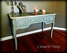 French desk/vanity painted with ASCP Duck Egg Blue & trimmed with Old White. Bronze Gilding paste was used as a glaze. - By Charmed by Vintage Furniture Makeover, Diy Furniture, Furniture Refinishing, Shabby Chic Furniture, Vintage Furniture, Entryway Decor, Bedroom Decor, French Desk, Sofa Tables