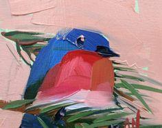 Dos pájaros  6 x 6 x 1/2 pulgadas (15 x 15 cm)  Pintura al óleo, óleo pastel y tinta sobre Fabriano Tela óleo papel.  Montado sobre panel de arce.  Lados del panel sin pintar. Muesca en la parte posterior para colgar.  Firmado por el artista.  Autor: Angela Moulton ©