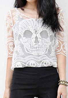 usd23.99/Image of Punk Style Skull Embroidered Lace Tee