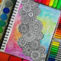 Trippy Drawings, Cool Drawings, Dibujos Zentangle Art, Doodle Art, Doodle Ideas, Estilo Hippie, Art Corner, Arte Disney, Pen Art