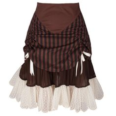 Steampunk style striped frill skirt with white lace around the bottom.  The front is rouched with beautiful white satin ribbon detail There is a underlay of crinkle chiffon adding length and even more beauty to this amazing alternative skirt 30C Wash, No Tumble Dry, Cool Iron
