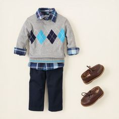 prep party  this handsome look will be mom's go-to favorite when he's got to be polished! our argyle sweater and plaid woven shirt are the perfect match in shades of blue. this combo looks great with jeans, cords or chinos.