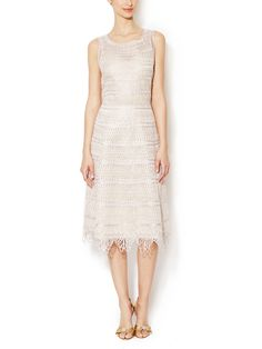 Metallic Scallop Trim Dress by Oscar de la Renta at Gilt