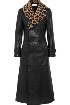 Black leather, leopard-print shearling Button fastenings through double-breasted front 100% leather (Lamb); trim: 100% shearling (Sheep); lining: 55% cupro, 45% cotton Specialist clean Made in ItalySmall to size. See Size & Fit notes.