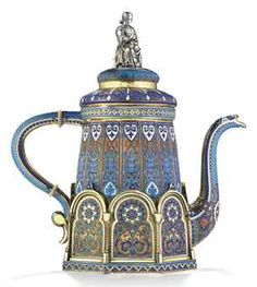 A SILVER-GILT AND CLOISONNÉ ENAMEL COFFEE POT  MARK OF ANTIP KUZMICHEV, MOSCOW, 1887, RETAILED BY TIFFANY & CO.http://www.christies.com/