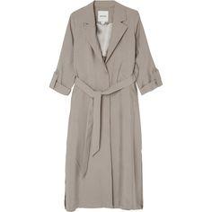 Monki Davina coat (€75) ❤ liked on Polyvore featuring outerwear, coats, jackets, tops, blazer, alias beige, long blazer coat, brown blazer, brown coat and longline coat