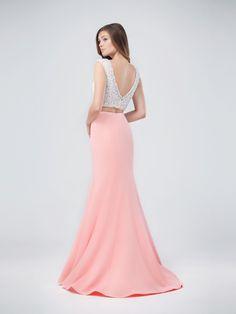 Val Stefani | Style 3266RB | Beautiful Beaded Crop Top Two-Piece Pastel Mermaid Dress