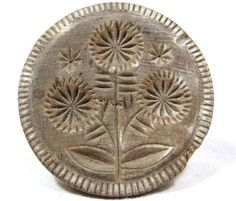Antique TRIPLE SUNFLOWER BUTTER STAMP AAFA Folk Art Primitive Treen Mold