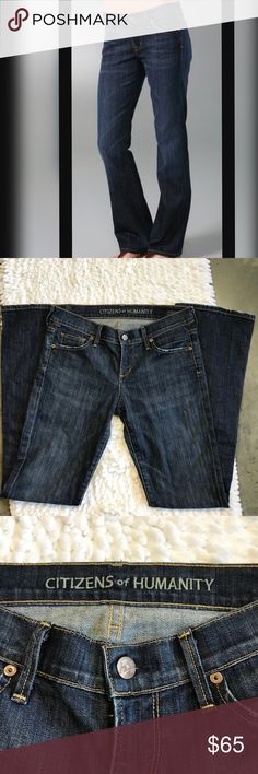 "Citizens of Humanity Jeans Citizens of Humanity jeans by Jerome Dahan. Style is Dita Petite Bootcut. Great used condition. Inseam- 30"" Waist- 14.5"" (straight across) Rise- 8""    (009) Citizens Of Humanity Jeans Boot Cut"