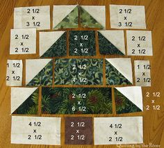 Christmas Tree Quilt measurements - squares, rectangles, half square triangles - I would double the size of each dimension.