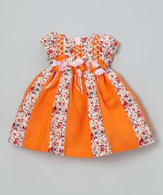 Love this Orange Floral Ribbon Dress - Infant & Toddler by Pretty Me on #zulily! #zulilyfinds