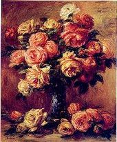 Roses are symbolic & favored in art, illustrations, on stamps, as ornaments. Shown is Renoir's painting of cabbage roses, 'Roses in a Vase'. - Wikipedia, the free encyclopedia