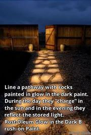 'Make Your Own Lit pathway with a little paint. You can make your own walkway too:  http://www.budget101.com/gardening-landscaping/how-build-faux-stone-walkway-502.html  #walkway #path #lit #stone #DIY #homemade #Spring #projects #DIY'