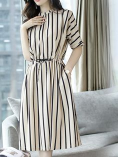 Fashionable Short Sleeved Striped Dress is part of Dresses - Stylish Dresses For Girls, Simple Dresses, Cute Dresses, Casual Dresses, Frock Fashion, Women's Fashion Dresses, Hijab Fashion, Marine Look, Casual Frocks