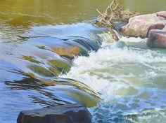 Force and flow ix by Sheri Farabaugh Oil ~ 36 x 48 Watercolor Water, Watercolor Landscape, Landscape Art, Landscape Paintings, Watercolor Paintings, Landscape Design, Beautiful Paintings, Beautiful Landscapes, Seascape Art