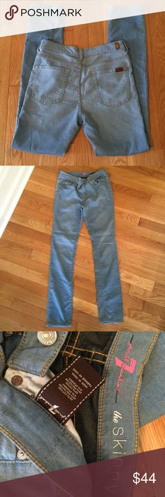 """7 For All Mankind Stretch Jeans These are high waisted, light weight, stretch type material, """"the skinny"""" style. Super soft and comfy. Great preloved condition. 7 For All Mankind Jeans Skinny"""