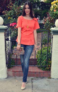 Summer colors, pastels, pink shorts, yellow sling bag, wooden ...