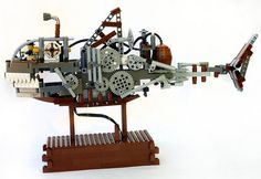 A Lego Steampunk Shark Submersible... that actually moves like a shark and is actually gear-driven.