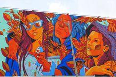 by Bicicleta Sem Freio - Close-up new mural for Santurce Es Ley - San Juan, Puerto Rico - 12.08.2014