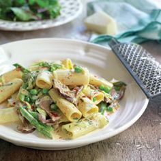 Rigatoni with peas and porcini mushrooms in a creamy asparagus sauce from Pasta Italiana by Gino D'Acampo Creamy Asparagus, Asparagus Recipe, Vegetarian Pasta Recipes, Veggie Recipes, Easy Recipes, Healthy Recipes, Porcini Mushrooms, Stuffed Mushrooms, Risotto