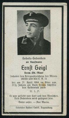 orig WK2 STERBEBILD - DEATH CARD - KRIEGSMARINE - UBOOT JÄGER UJ-6075 Mittelmeer