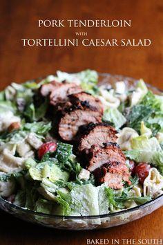 Pork Tenderloin with Tortellini Caesar Salad
