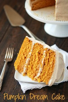 Pumpkin Dream Cake topped with cinnamon maple cream cheese frosting.
