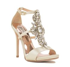 8ae3965c0b7c Basile is a satin sandal with large crystal embellishment down the front  and a 4 1