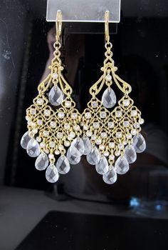 Gold Crystal Chandelier Earrings Clear by TonettesTreasures