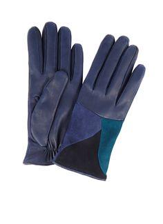 Leren handschoenen met patchwork