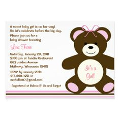 Chocolate Teddy Bear Baby Shower Invitations