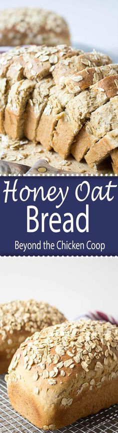 Homemade Honey Oat Bread made with oatmeal. This recipe makes two delicious loaves of bread perfect for sandwiches or for toast. Tasty Bread Recipe, Quick Bread Recipes, Muffin Recipes, Baking Recipes, Breakfast Recipes, Dessert Recipes, Easy Recipes, Whole30 Recipes, Vegan Recipes