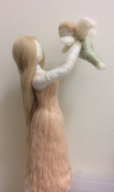 Needle Felted Mother with Angel Baby rainbow by radishwoolworks