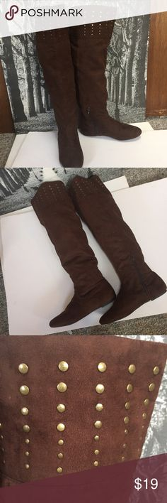 """over the knee that it brown boots Bamboo Brown Faux Suede Studded Tall Boots 7.5  20"""" tall shaft  15"""" calf ( a """"V"""" of elastic back of calf  All man made materials  Very soft lining  with rubber sole  All items are from smoke free environment bamboo Shoes Over the Knee Boots"""